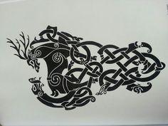 Cerf et serpent entrelacs Tatouage Artemis, Back Tattoo, Arabic Calligraphy, Serpent, Tattoos, Tattoo Ideas, Patterns, Celtic, Tatuajes