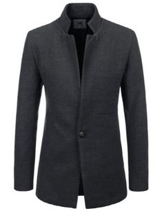 Fashion Mens Business Formal Dress Button Wool Blend Jacket Slim Fit Winter Coat