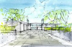 Gallery of Bowen Island House / bai architects - 23 Landscape Sketch, Landscape Designs, Landscape Plans, Landscape Drawings, Landscapes, Watercolor Architecture, Architecture Drawings, Landscape Architecture, Watercolor Sketch