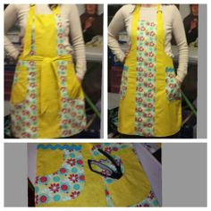 Quality Handmade Apron Double Sided Yellow Flowers | eBay