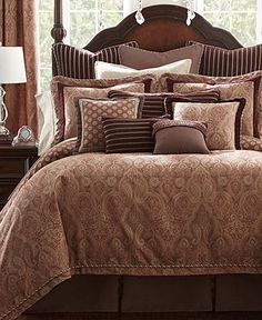 Waterford Tabriz European Sham - home and bedding ( mulberry ground with gold accents, bedroom decor)