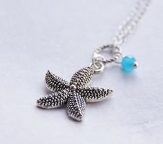 Silver Starfish Necklace Blue Crystal Nautical Starfish Necklace Handmade Charm Necklace Beach Bridesmaid Gift Destination Wedding Jewelry by SmittenKittenKendall on Etsy
