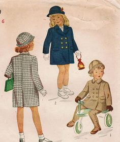 1940s Simplicity 4899 Vintage Sewing Pattern Girls Chesterfield Coat, Leggings…
