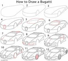 How to Draw a Bugatti Step by Step Drawing Tutorials with Pictures.