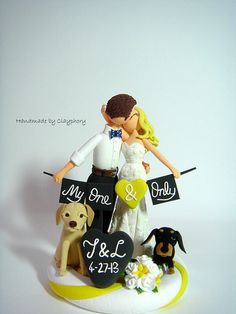 Romantic- Customized wedding cake topper with dogs