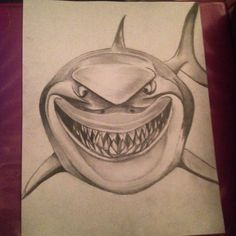 Drawing of the shark Bruce for my roommate. Finding nemo is such a great disney / pixar movie. Drawing in pencil. For requests email me at captainartmorgan66@gmail.com.
