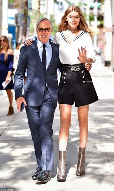 Besties! Gigi Hadid, 21, and Tommy Hilfiger, 65, strolled along the streets of Manhattan on Friday ahead of the launch event for their TommyXGigi Collection