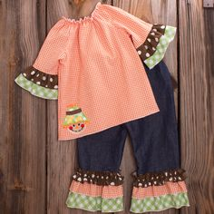 Lolly Wolly Doodle Orange Gingham Denim Ruffle Pant Set 7/2