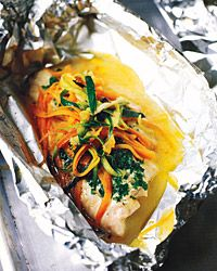 Sea Bass Baked in Foil with Pesto, Zucchini, and Carrots Recipe from Food & Wine (Red Fish Recipes) Carrot Recipes, Fish Recipes, Seafood Recipes, Paleo Recipes, Dinner Recipes, Cooking Recipes, Recipies, Seafood Dinner, Fish And Seafood
