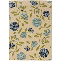 Oriental Weavers Caspian 8327Y Ivory/Green Floral Area Rug