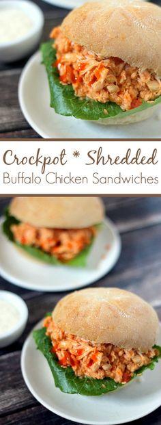 Crockpot Shredded Buffalo Chicken Sandwiches Recipe