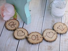 Hand Engraved Wood Slice Wedding Date Banner by PNZdesigns on Etsy, $17.50