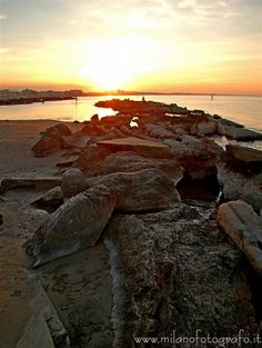 Cattolica (Rimini, Italy) - Sunset with protective stoneborder