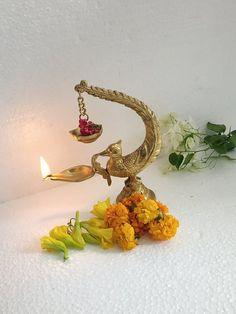 India Home Decor, Ethnic Home Decor, Ganesh Chaturthi Decoration, House Decoration Items, Silver Pooja Items, Diy Diwali Decorations, Pooja Room Door Design, Puja Room, Bird Design