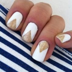 chevron gold and white nail trend art