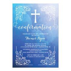 Blue Watercolor Cross Confirmation Invitation - invitations personalize custom special event invitation idea style party card cards