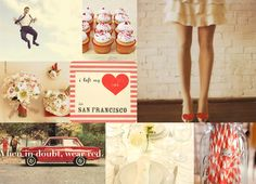 Let's do it, let's fall in love...A little more Valentine inspiration for you, with this retro-toned sweetheart inspiration board, inspired by the red heart shoes in this photo by The Alf Memoirs. Grab your honey, some cupcakes, and an instant camera, and have yourselves a fun date. Or a wedding!