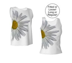 #Daisy #Tank #Top, Loose or Fitted, XS S M L XL, Long or Loose, Stretchy Jersey Knit by WhimZingers on Etsy