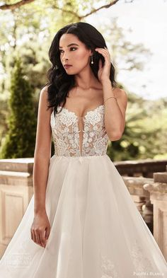 paloma blanca spring 2021 bridal sleeveless thin straps plunging v neckline embellished lace bodice a line ball gown wedding dress tiered skirt chapel train (8) zv -- Paloma Blanca Spring 2021 Wedding Dresses | Wedding Inspirasi #wedding #weddings #bridal #weddingdress #weddingdresses #bride #fashion #label:PalomaBlanca #season:Spring/Summer #week:412020 #year:2021 ~ Beautiful Wedding Gowns, Wedding Dress Styles, Designer Wedding Dresses, Bridal Dresses, Bridal Looks, Bridal Style, Wedding Bride, Gown Wedding, Wedding Goals
