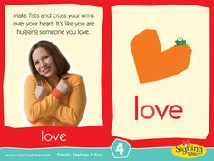 LOVE: Make fists and cross your arms over your heart. It's like you are hugging… Sign Language Book, Sign Language Chart, Sign Language For Kids, Language Dictionary, Sign Language Phrases, Sign Language Interpreter, American Sign Language, Autism Signs, Asl Signs