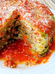 Stuffed Cabbage Cake. All of the flavors of stuffed cabbage rolls made into a cake. Not only easier but beautiful!