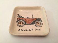 Chevy 1913, Hand Painted Ceramic Dish/Ashtray/Jewelry Dish, Small