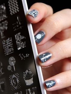 Dandelion nail art with MoYou stamping plate