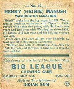 1933 Goudey #47 Heinie Manush Back