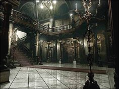 Horror game , Mansion hall , Resident Evil , played it on the Nintendo Game Cube Gothic Mansion, Gothic House, Haunted Mansion, Modern Mansion, Old Buildings, Abandoned Buildings, Abandoned Places, Gothic Interior, Mansion Interior
