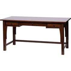 The simple design of this two-drawer writing desk is excellent for the up-and-coming writer. Enthusiastically approach your career with a tuck-away drawer for your keyboard, attractive walnut finish, and small side drawers for pen storage.