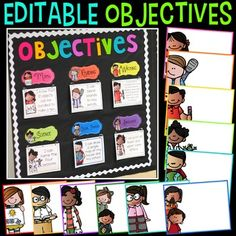You are purchasing an objectives bulletin board kit that you can use to display your objectives and learning targets!I created this bulletin board because I… Kindergarten Classroom Decor, 2nd Grade Classroom, Classroom Bulletin Boards, Future Classroom, School Classroom, Classroom Themes, Classroom Organization, Classroom Management, Black Bulletin Boards