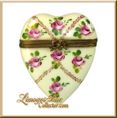 Limoges Heart with Pink Roses box.