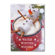 Warm Winter Wishes Business Christmas Cards, Holiday Cards, Cute Marshmallows, Marshmallow Snowman, Personalised Christmas Cards, Renewable Sources Of Energy, Cocoa, Wish, Winter