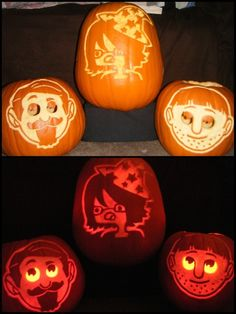 Yogscast pumpkins: Sjin, Nilesy, and Sips