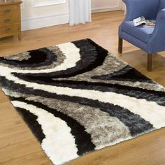 AllStar Rugs Geometric Thick, Curved Lines, Area Rug.