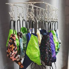 Isn't this what everyone's hangers look like? Stainless steel peg hanger perfect for small laundry items such as your fabric face masks.   📷 @a_t_z_and_everything_else Green Cleaning Recipes, Laundry Solutions, Clothes Pegs, Cost Of Goods, Small Laundry, Wire Hangers, Biomes, Face Masks, Socks