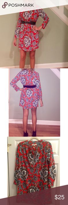 LOFT paisley print long sleeve shirt dress Loft super fun paisley print long sleeve shirt dress! I lost the original belt that came with it which matched the pattern so I used a black belt with it - does not need to be belted can be worn flowy or with leggings as tunic. Bright fun pattern! More orange than reddish- 3rd picture shows coloring and detail very well. Button up the top front and sleeves at the bottom. Gently worn- no damages . Size xs. LOFT Dresses Long Sleeve