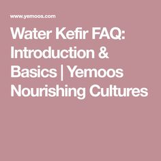 Water Kefir FAQ: Introduction & Basics | Yemoos Nourishing Cultures