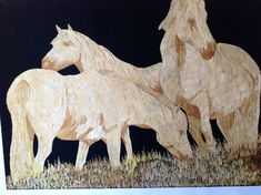 Wild Horses made out of rice straw.  Handmade leaf art of Horses. Can You BELIEVE it is made of rice leaves
