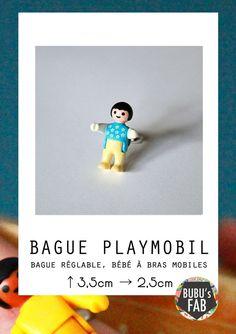 Bague Playmobil bébé bleu upcycling par bubusfab sur Etsy