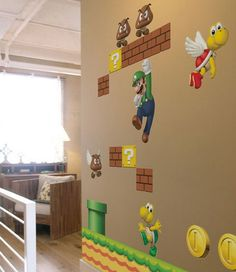 Mario  http://wallmuralgallery.com/creating-super-mario-wall-murals/mario-friends-wall-murals-theme/