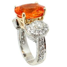 7.0 Carat Spessartite Garnet Diamond Two Color Gold Ring  | From a unique collection of vintage fashion rings at https://www.1stdibs.com/jewelry/rings/fashion-rings/