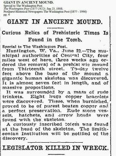 1908 Giant Human Skeletons: Gigantic Human Skeletons Tomb in Central City, West Virginia Giant Skeleton, Human Skeleton, Ancient Aliens, Ancient History, Giant People, Tall People, Nephilim Giants, Mystery Of History, History Mysteries
