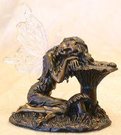 Fairy Resting on Mushroom Figurine