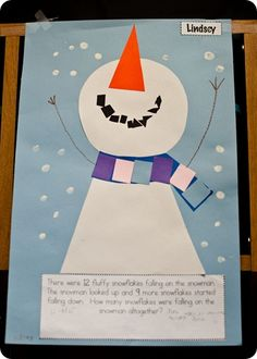 snowmen addition stories and art project