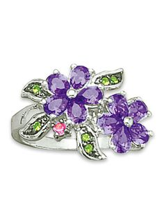 GiftJewelryShop Puppy Wearing Red Ribbon Photo Purple Amethyst Crystal February Birthstone Flower Dangle Charm Bracelets