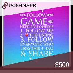 Plz! Share this listing with your followers, ty If your going to like this listing you need to also share this listing w/ your followers & follow evryone. If you don't share this listing I will tag you to plz share this. If you still don't Share, at the end of this game I will unfollow you and let evryone know u didn't play by the rules and up to them if they chose to unfollow as well. Sorry I have to write this but it's happening way too much not fair to evryone. We're human we forget get…