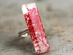 Real flower sterling silver bar ring
