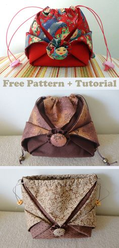 Drawstring Bag Tutorials, Drawstring Pouch, Sewing Machine Projects, Sewing Projects For Beginners, Bag Patterns To Sew, Sewing Patterns, Diy Pouch No Zipper, Pouch Bag, Pouches