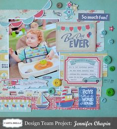 This adorable layout by Jennifer Chapin used products from the Rough And Tough collection by Carta Bella.